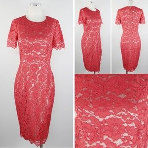 NEW Vince Camuto Red Lace Wrap Sheath Dress 6 NWT